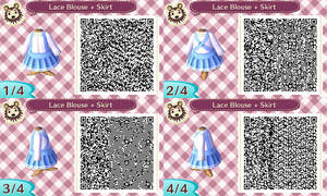 Lacy Blouse and Suspender Skirt ACNL QR
