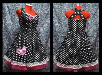 polka dot swing dress by Maraleopard