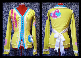 yellow artsy cardigan by Maraleopard