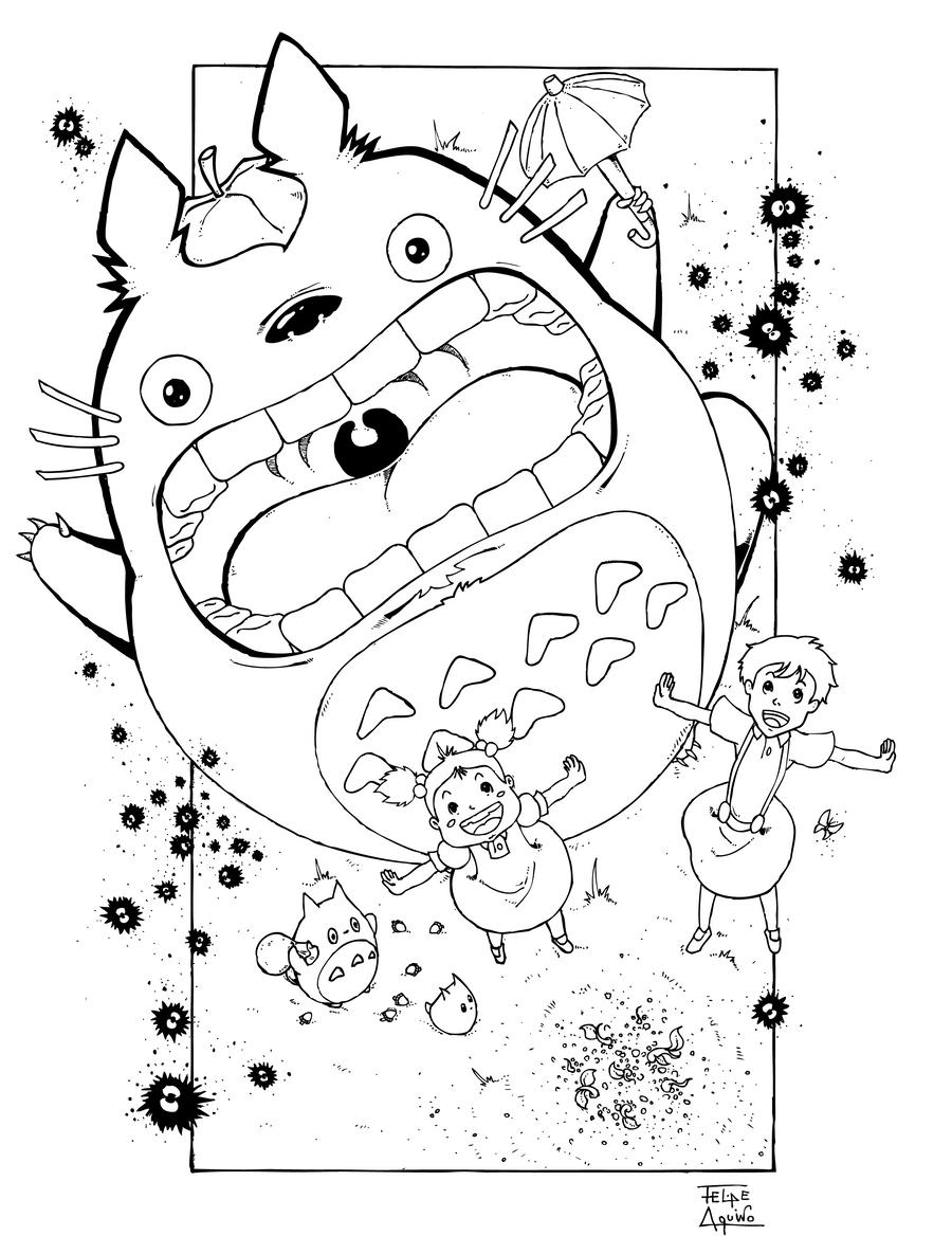 Tonari no totoro by felipeaquino on deviantart for Kiki s delivery service coloring pages