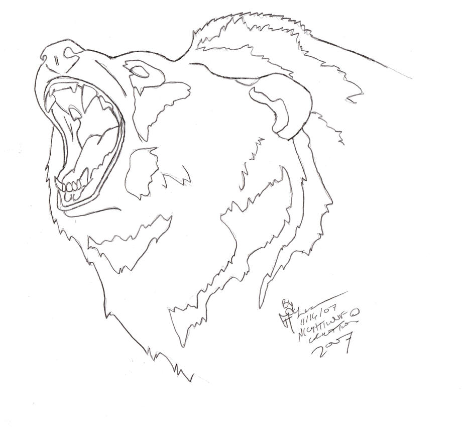 One Line Art Bear : Grizzly bear outline tattoo