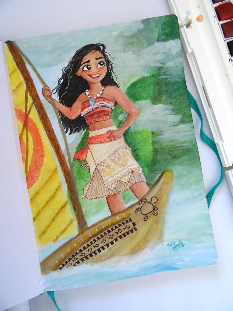 Moana Watercolour (Sketchbook 2017 page 3) by xxPandaGirl16xx
