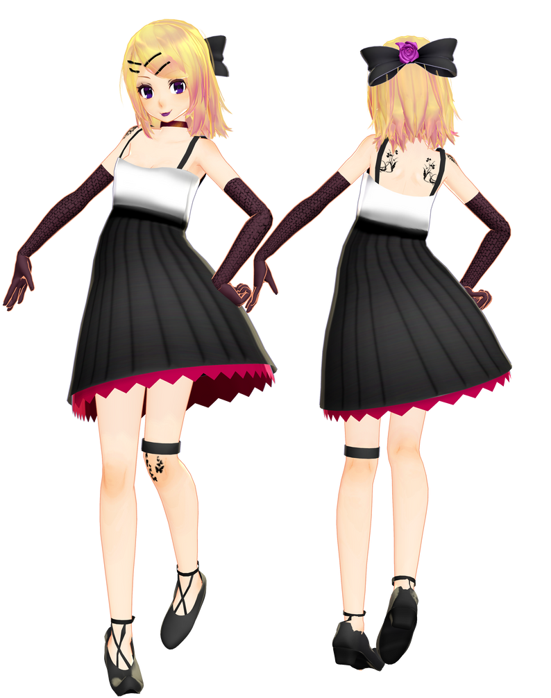 i tried making a kagamine rin goth model by Sushi-Kittie ...