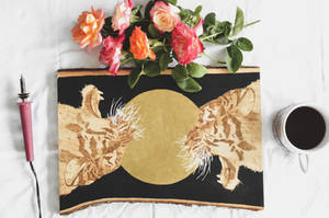 Tigers Wood Burning with Gold Foil
