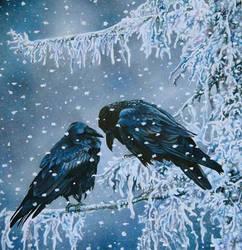 Ravens painting by EsthervanHulsen