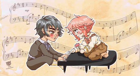 Xan and Linn at the piano by neko-productions