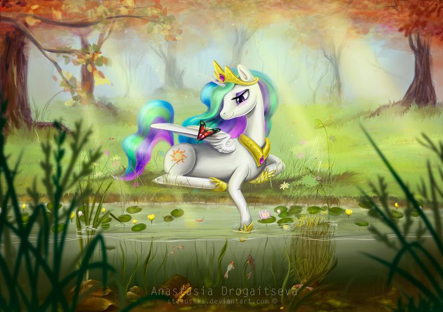 Princess Celestia_quiet garden (UPDATED) by Stasushka