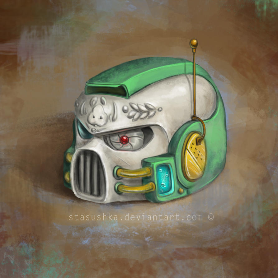 Helmet (Spacemarine Grasshopper Mouse Chapter) by Stasushka