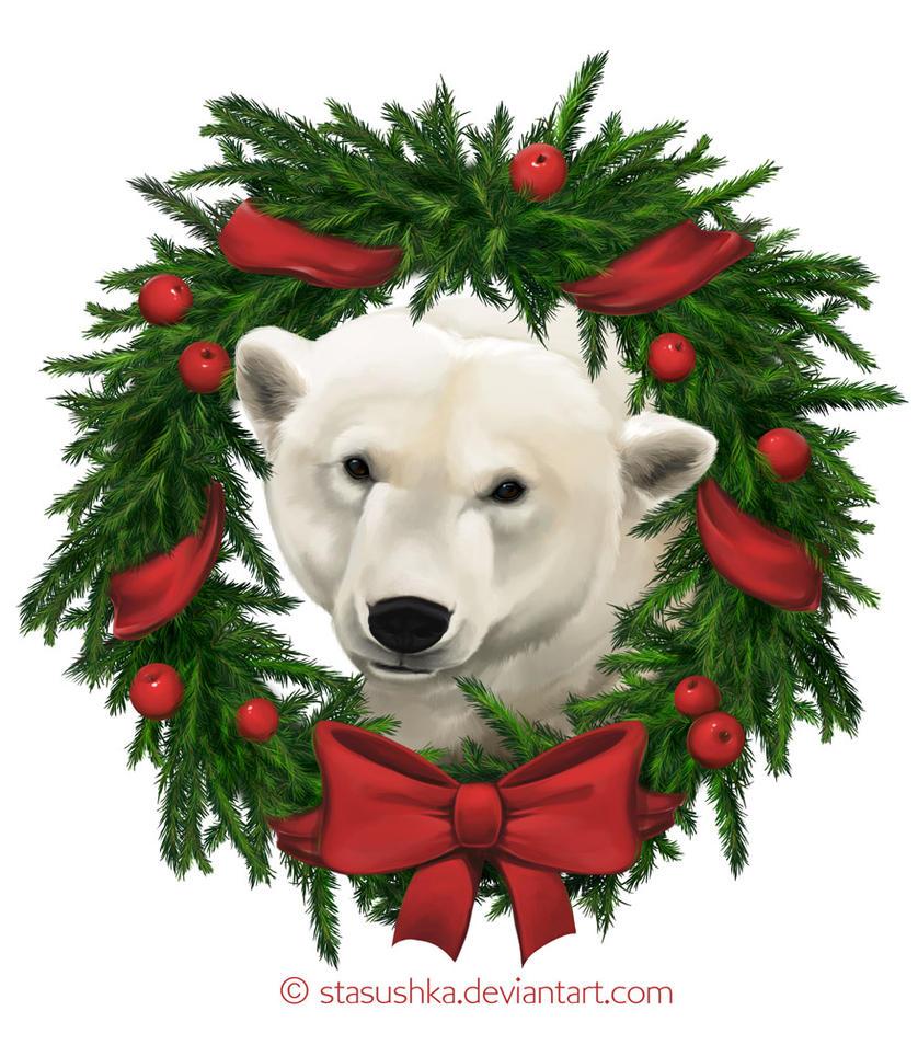 Christmas polar bear by Stasushka