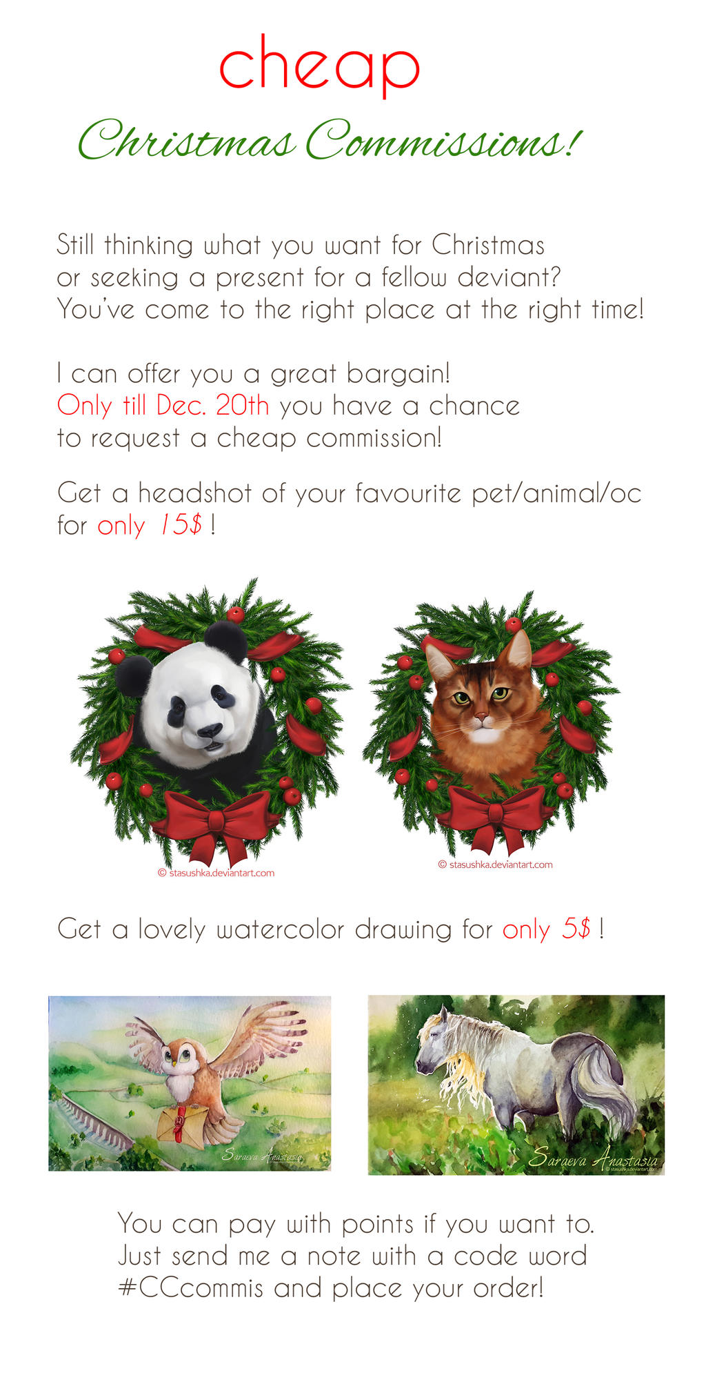 Cheap Christmas Commissions by Stasushka