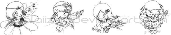 FourSeason Fairies - Lineart by lalalaiizaa