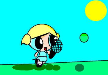 Bubbles playing tennis by xXDrawerOfAllXx