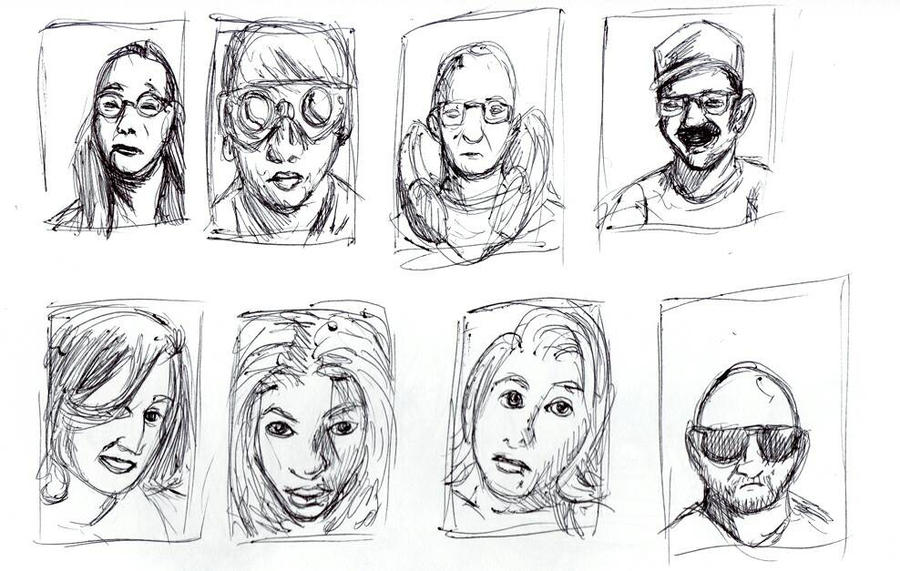 Daily Sketch: Portrait Thumbnails by Hunchy