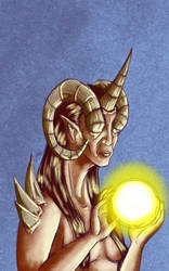 Daily Sketch: Horned Oracle by Hunchy
