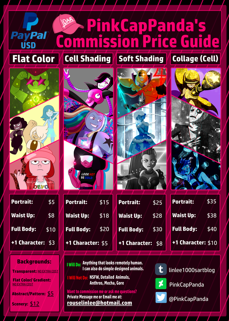 [OPEN] Commission Price Guide by PinkCapPanda