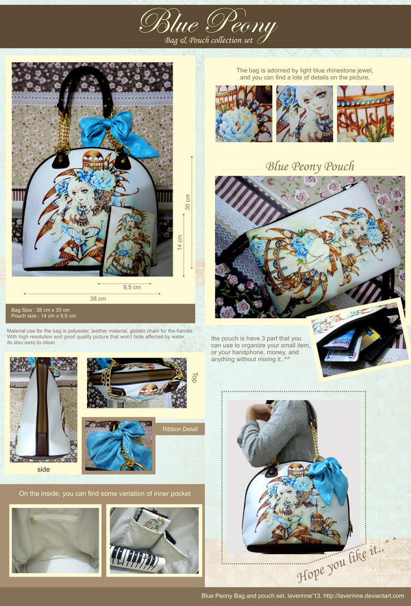 Blue Peony Bag  and pouch collection..^^ by laverinne