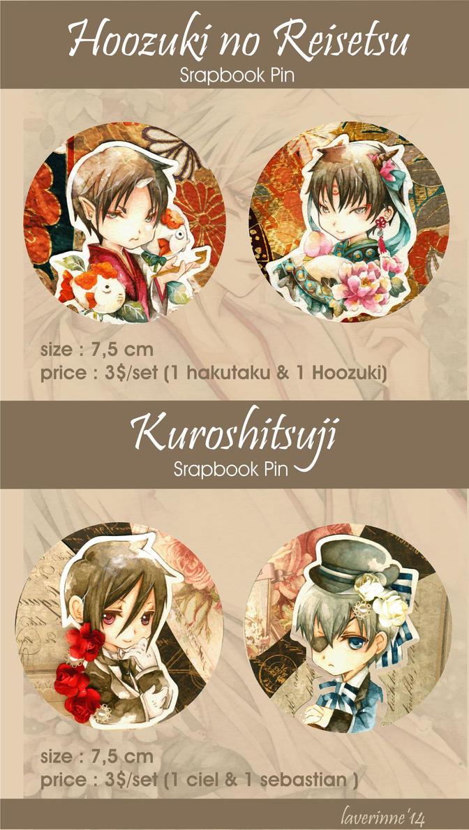 Kuroshitsuji and Hoozuki no Reisetsu Pin Set.^^ by laverinne