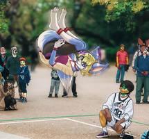 Kyla Sideflips in Ueno Park