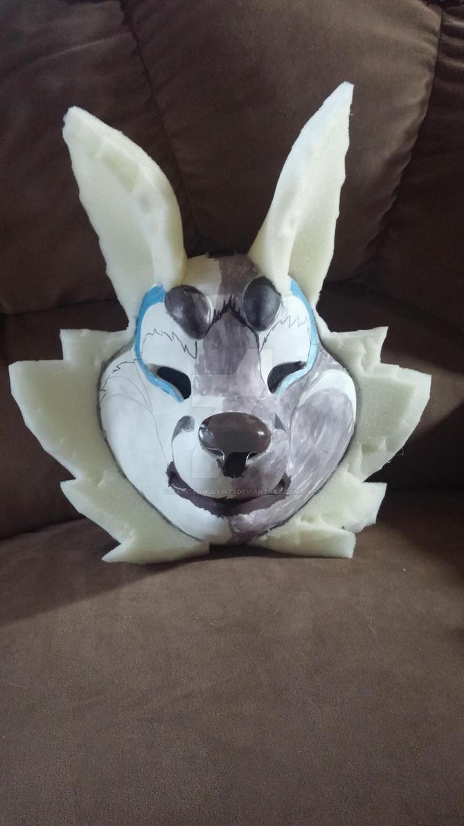 WIP kitsune mask by PaintedWulf1435