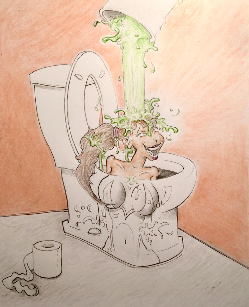Dumping a bucket of Green Goo down on Marielou by Frageroo
