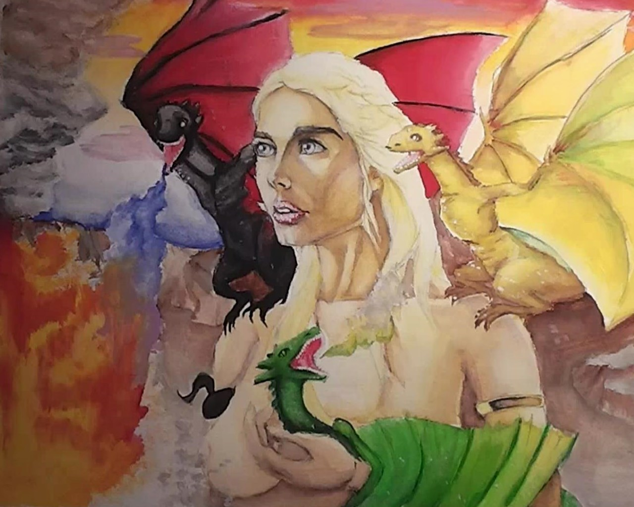 with fire and blood (watercolour) by ToiFactory