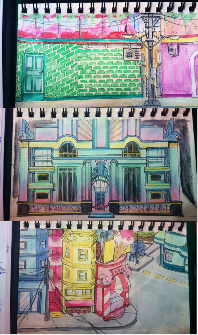 Rough architecture sketches by ToiFactory