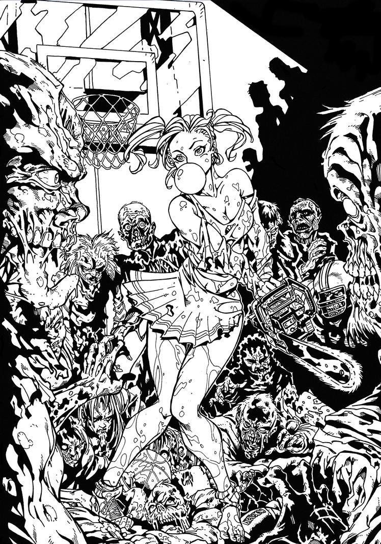 Zombies VS Cheerleader Inking Practice by BluetheInker