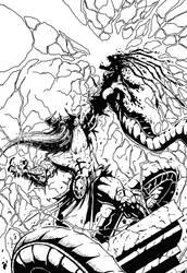 Murderthane vs Medusa pg 10 inking practice by itsAJtheinker