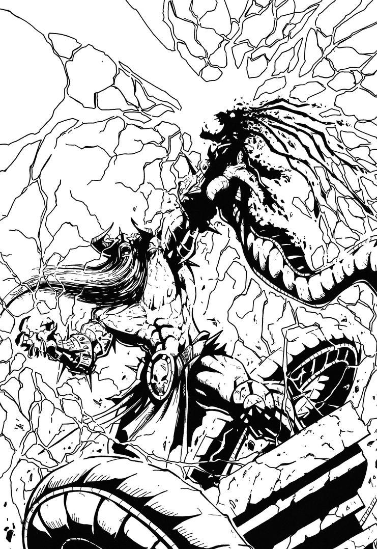 Murderthane vs Medusa pg 10 inking practice by BluetheInker