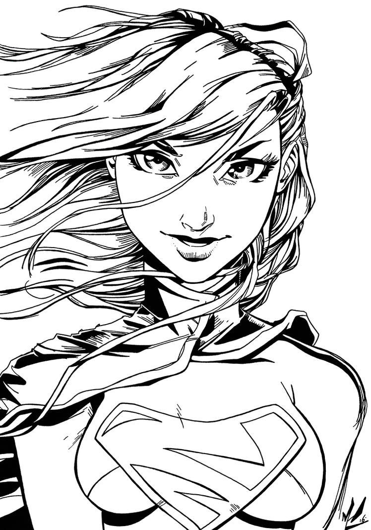 Supergirl Inks - Marc-F-Huizinga pencils by BluetheInker