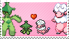 Pokemon Couple Stamp - Mareep x Cacturne by Black2WhiteMystery
