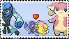 Pokemon Couple Stamp - Sawk x Audino by Black2WhiteMystery