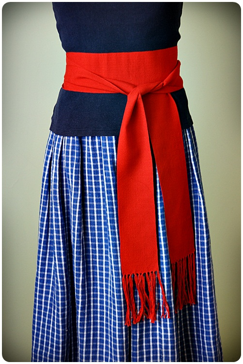 Hand woven wide red belt by WonderfulSun