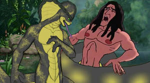 Tarzan being crushed by the human snake.