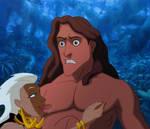 Tarzan paralyzed by Queen La.