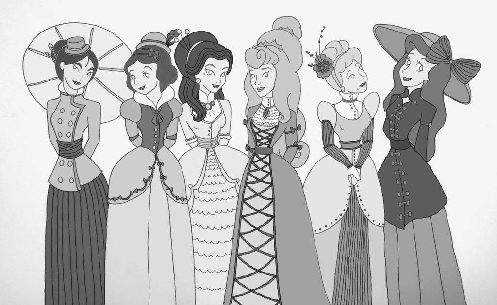 Victorian style disney princessesblack and white by thehappybucket