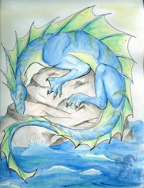 Water dragon by felineflames