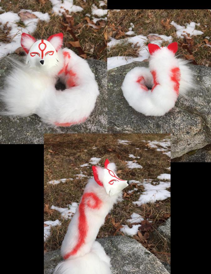Okami Inspired Pipe fox-- Amaterasu