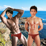 Taecyeon and Chansung Posing Muscle On Beach