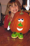 Young Girl and Pumpkin