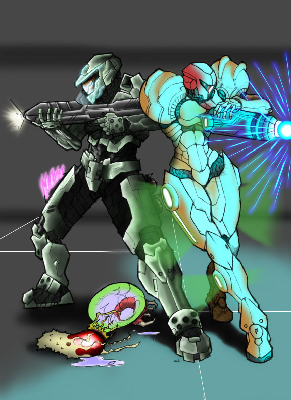 Master Chief and Samus Aran by Hitokirisan
