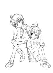 Sakura and Syaoran Lineart