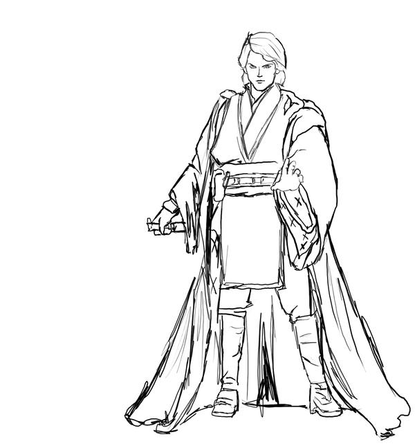 Anakin Skywalker Sketch by HitokirisanAnakin Skywalker Coloring Pages