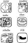 Mayan glyphs, tzite tzukte wakachan xibalba bi