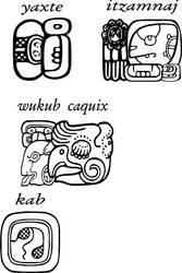 Mayan Glyphs, yaxte, itzamnaj, wukub caquix, kab