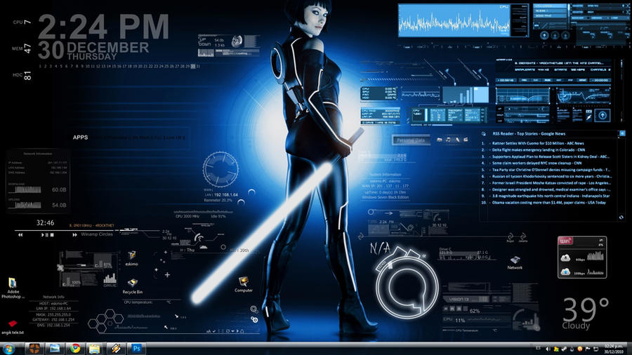 Tron jedi rainmeter by vlad7840 on deviantart for Bureau windows 7 rainmeter