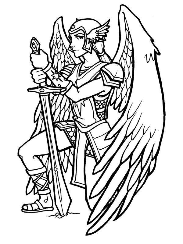 Line Art Angel : Guardian angel line art by mastermatt on deviantart
