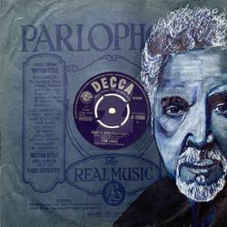 Tom Jones Biro Art Portrait on Record Sleeve