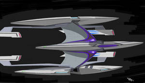 Star Trek: 3 saucered, 4 nacelled federation ship