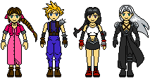 NES FFVII Characters by Shocked-Quartz